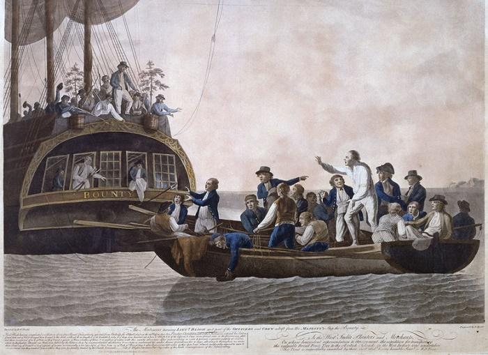 Мятежники высаживают в шлюпку капитана Блая и часть команды «Баунти», 28 апреля 1789 года. Картина Роберта Додда. National Maritime Museum / Источник: wikipedia.org