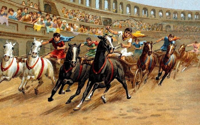 Гонки на колесницах в Древнем Риме / Фото: historyanswers.co.uk