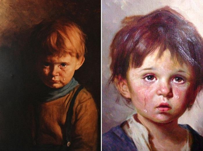 «Плачущий мальчик» (оригинал - справа, репродукция - слева)