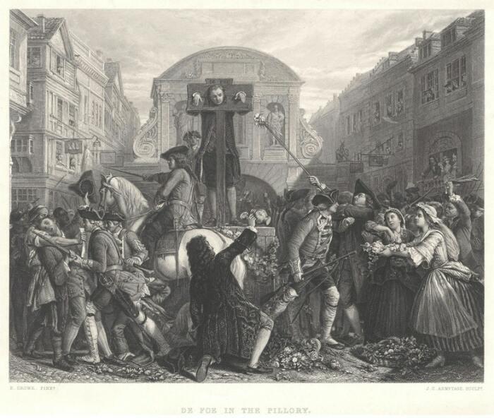 Дефо у позорного столба. Гравюра Джеймса Чарльз Армитеджа. National Portrait Gallery, London / Источник: wikipedia.org