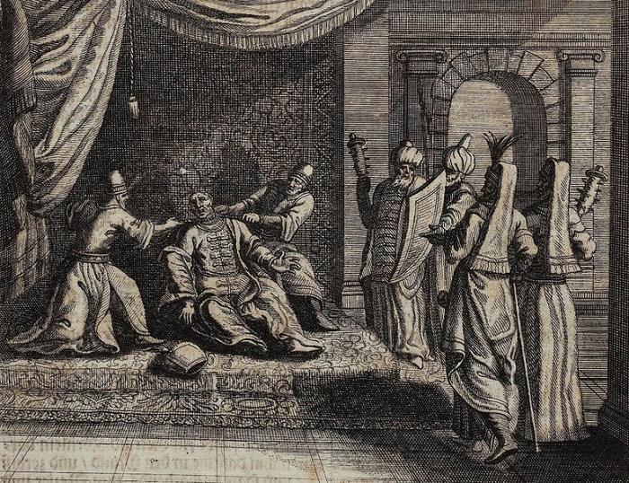 Удушение султана Ибрагима I мятежниками, гравюра XVII века. / Фото: wikipedia.org