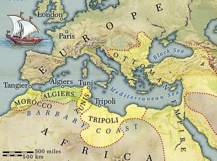 Карта прибрежных владений на Средиземном море. Конец XVIII века / Фото: twitter.com