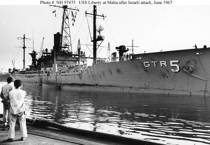 Прибывший после израильского нападения на военно-морскую базу США на Мальте корабль USS Liberty / Фото: wrmea.org