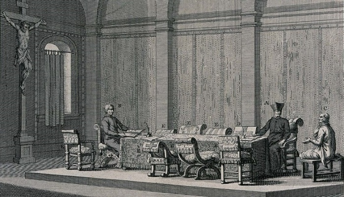 Допрос еретика в зале инквизиции. Гравюра XVII века / Источник: twitter.com