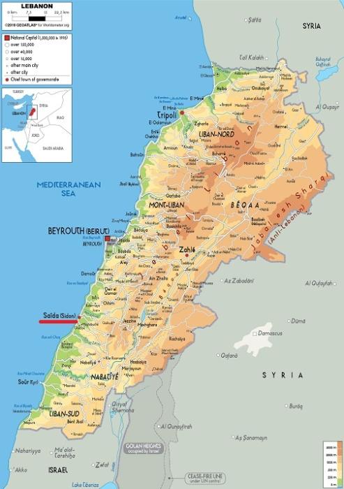 Город Сидон (сейчас Сайда) на карте Ливана / Источник: worldometers.info