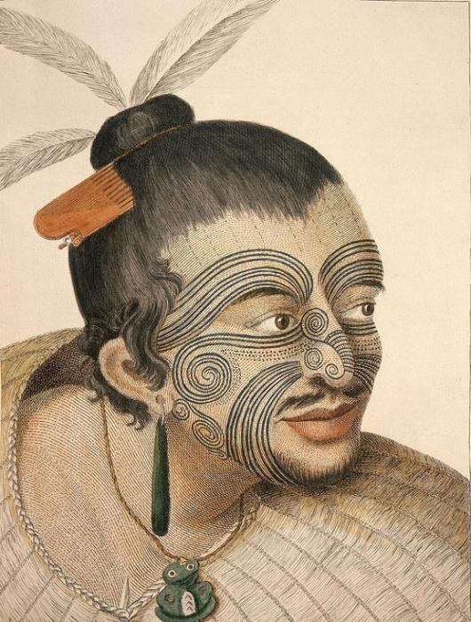 Вождь Маори с татуировкой на лице, Сидней Паркинсон, 1784 год. National Library of New Zealand. Фото: bbc.com