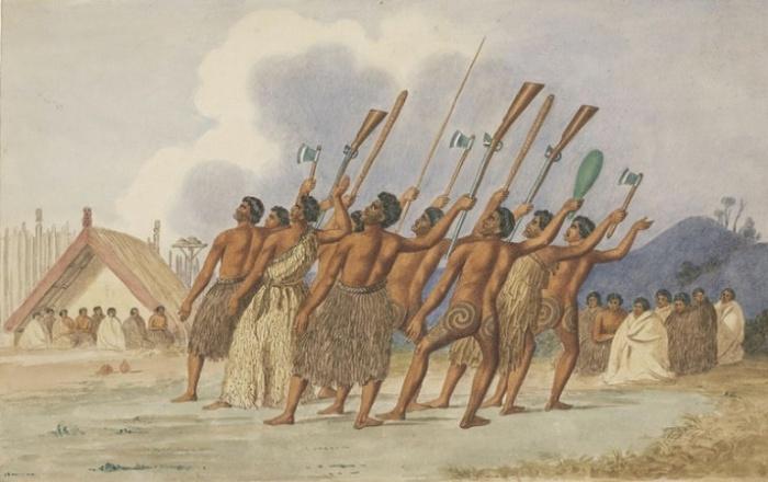 Военная хака, рисунок сделан около 1845 года. Australian National Library. / Фото: nla.gov.au