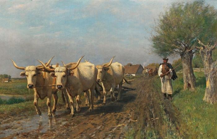«Венгерский фермер со степным скотом». Художник Отто фон Торен. 1870-е года. / Фото: dorotheum.com