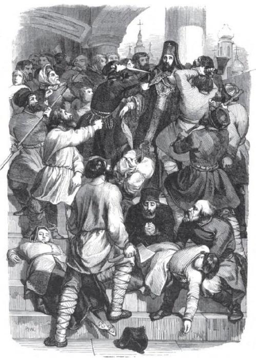 Убийство архиепископа Амвросия, гравюра Шарля Мишеля Жоффруа, 1845 год. / Фото: facebook.com