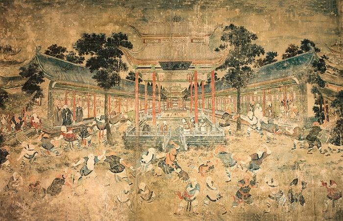 Монахи, практикующие кунг-фу. Фреска в монастыре Шаолинь, 19 век / Фото: commons.wikimedia.org