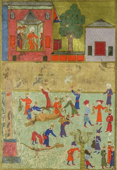 Османская миниатюра Накаша Османа из «Книги Царя Царей» Саида Локман, 1597–1598 годы / Фото: quora.com