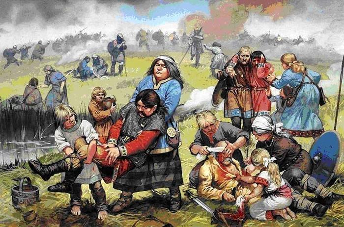Соплеменники помогают раненым германцам после сражения с римскими легионерами / Источник: narodworld.ru