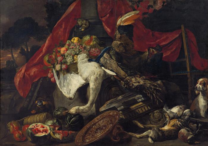 Питер Боэль (1622-1674) Натюрморт с игрой, попугай, собака, обезьяна и фрукты