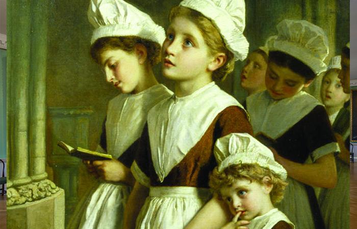 «Подкидыши за молитвой в часовне» Софи Андерсон (XVIII век) / Фото: ncbi.nlm.nih.gov