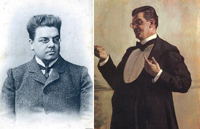 В. Лужский и портрет Кустодиева