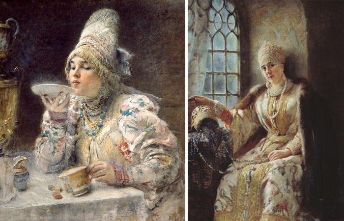 Работы Маковского: «За чаем» (1914) и «Боярыня у окна» (1885)