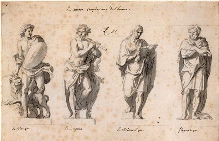 Эскиз статуй XVII века, часть Grande Commande, автор Шарль Лебрён