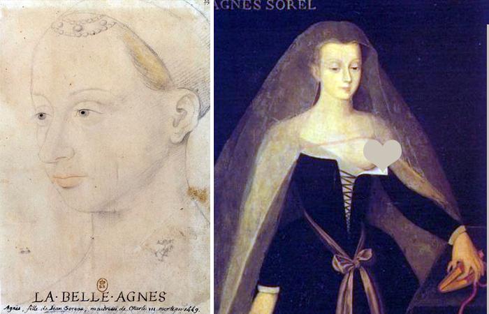 Аньес Сорель: рисунок Жана Фуке / портрет XVI века, вдохновленный Девой Марией кисти Жана Фуке