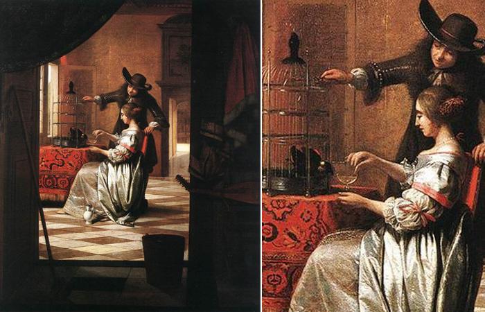 Питер де Хох «Парочка с попугаем» 1668