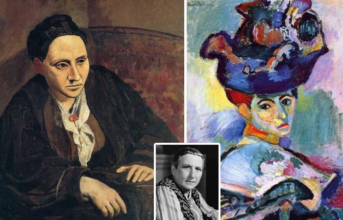 «Дама в синей шляпе», худ. Матисс / «Гертруда Стайн», худ. Пикассо /  в центре фото Гертруды Стайн