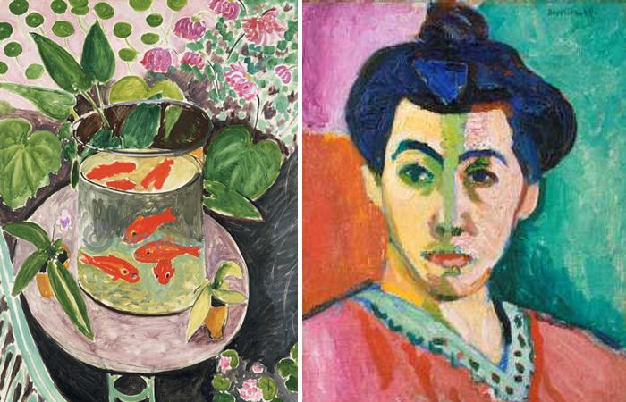 Анри Матисс. «Красные рыбы (Золотые рыбки)» 1912 /   «Зелёная полоса (Мадам Матисс)» 1905