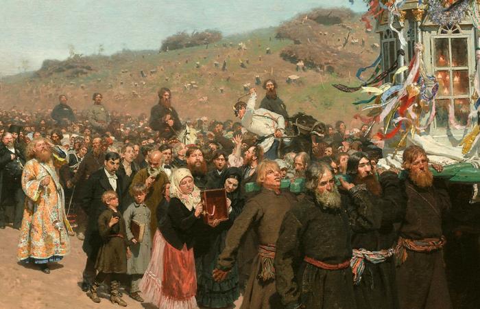 И. Е. Репин. «Крестный ход в Курской губернии». 1883 (фрагмент)
