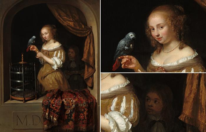 """Дама с попугаем у окна"""