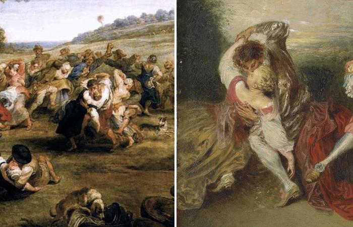 Фрагмент картины Рубенса «Кермесса» (1635 г.) / Фрагмент картины «Сюрприз» Жана-Антуана Ватто