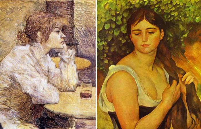 портрет Сюзанны Валадон кисти Анри де Тулуз-Лотрека и Ренуара