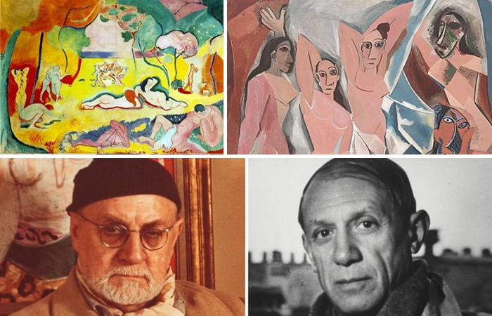 Пикассо «Авиньонские девицы» (1907) / «Радость жизни» Матисса (1905) / Ниже фото художников