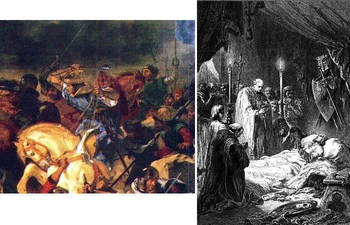 Людовик IX Святой в сражении (фрагмент картины Э. Делакруа, 1837 год) / Смерть короля Франции Людовика IX Святого