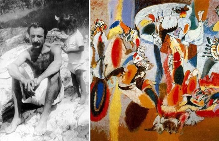 Аршил Горки с дочерью Наташей и его картины «Печень как петушиный гребень» (1944)