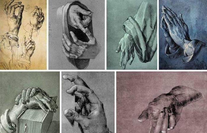 Изображение рук на рисунках Дюрера