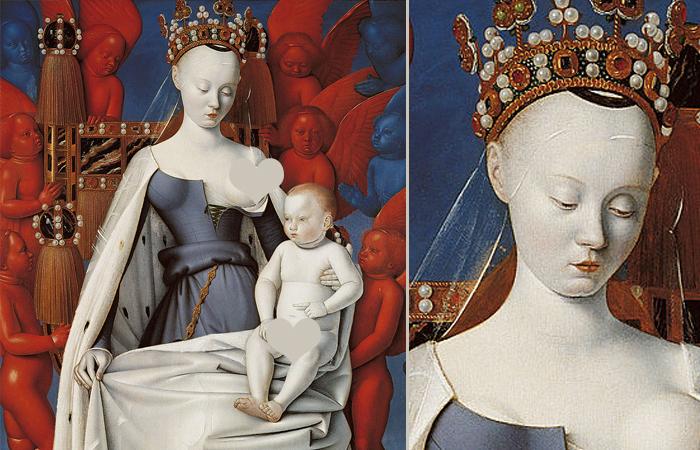 Жан Фуке. Дева Мария. Правая створка Меленского диптиха. Ок. 1450. Королевский музей изящных искусств, Антверпен