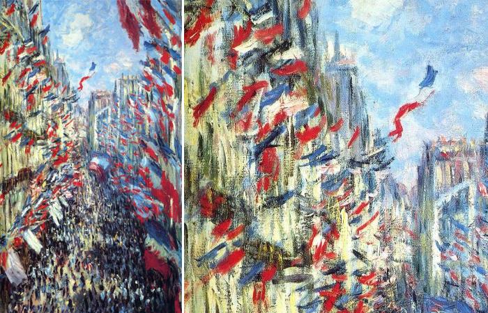 Картина Моне под названием «Рю Монторгей в Париже, фестиваль 30 июня 1878»
