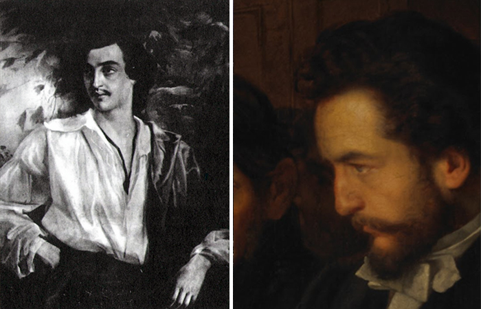 Слева - портрет С. М. Варенцова работы Пукирева. 1860-е годы