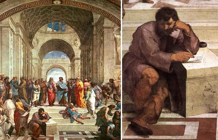 «Афинская школа» Рафаэля и Гераклит в образе Микеланджело
