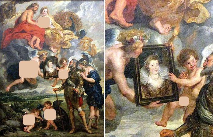Питер Пауль Рубенс «Представление портрета Марии Медичи», ок. 1622-1625, холст, масло, 394 x 295 см (Musée du Louvre)