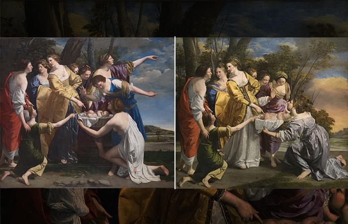 «Обнаружение Моисея»: первая версия слева (Лондон) и вторая версия справа (Мадрид)