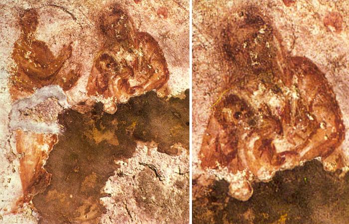 Древнейшее изображение Богородицы с младенцем Иисусом и пророком. Катакомбы Присциллы