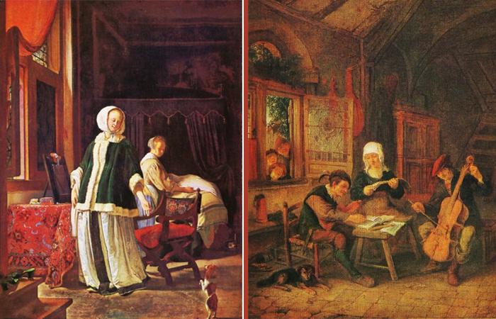 «Утро молодой дамы». 1660 г. Франс Мирис Старший   (2) «Деревенские музыканты». 1635 г. Адриан Ван Де Остаде