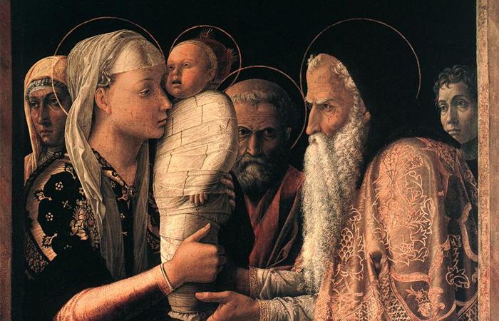 Автопортрет (крайний справа) с женой Николозией (крайняя слева) на полотне «Принесение во храм», 1465-1466, Берлинская картинная галерея