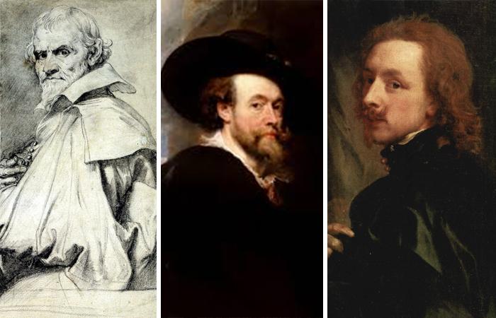 Портреты слева направо: Орацио Джентилески, Рубенс, Антонис ван Дейк