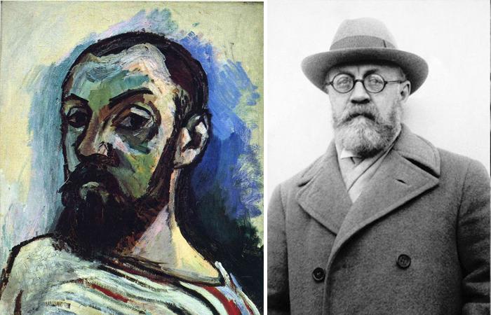 Анри Матисс: «Автопортрет в полосатой футболке» (1906) и его фотография