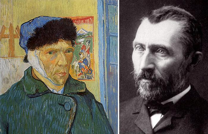 Винсент ван Гог «Автопортрет с перевязанным ухом» (1889) и фото художника