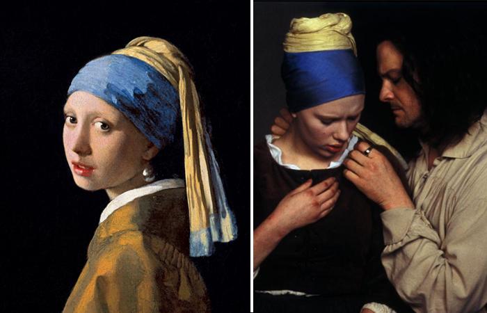 «Девушка с жемчужной сережкой» (картина Яна Вермеера и кадр из одноименного фильма)
