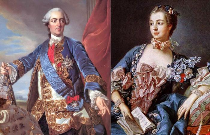 «Людовик XV», Портрет работы ван Лоо /  Морис Квентин де Латур  «Портрет мадам де Помпадур»