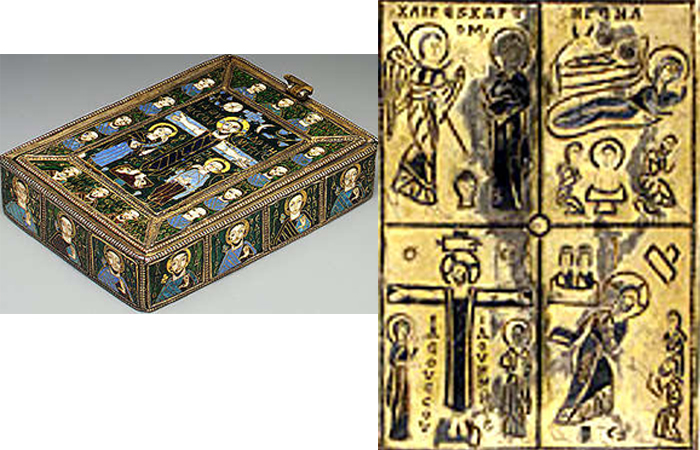 Византийский фрагмент «Рождества Христова» начала IX века, эмаль, Метрополитен-музей.