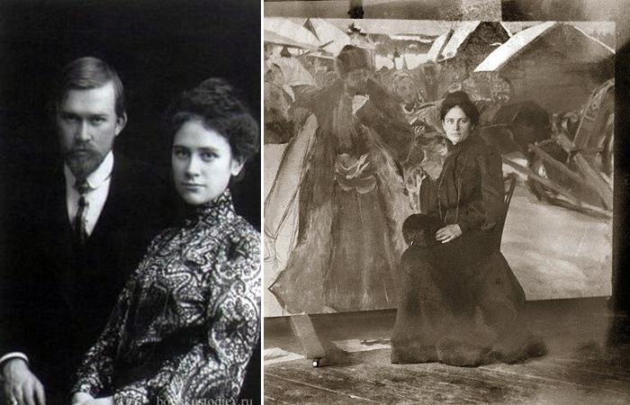 Кустодиев с женой