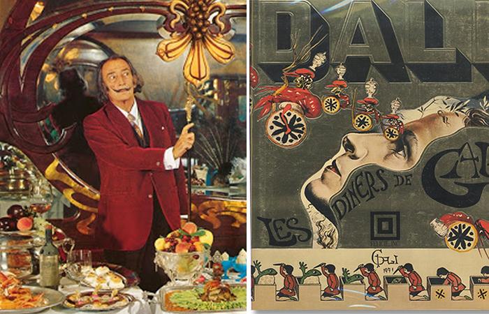 Сальвадор Дали и обложка первого издания Les Diners de Gala (1973)